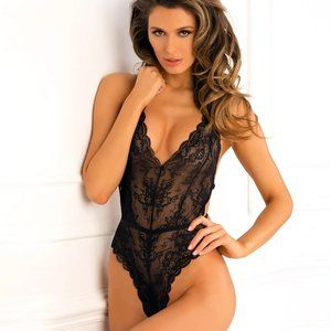 Black Strappy Back Lace Plunging Teddy Lingerie